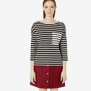 Kate Spade Striped Contrast Pocket Pullover Shirt